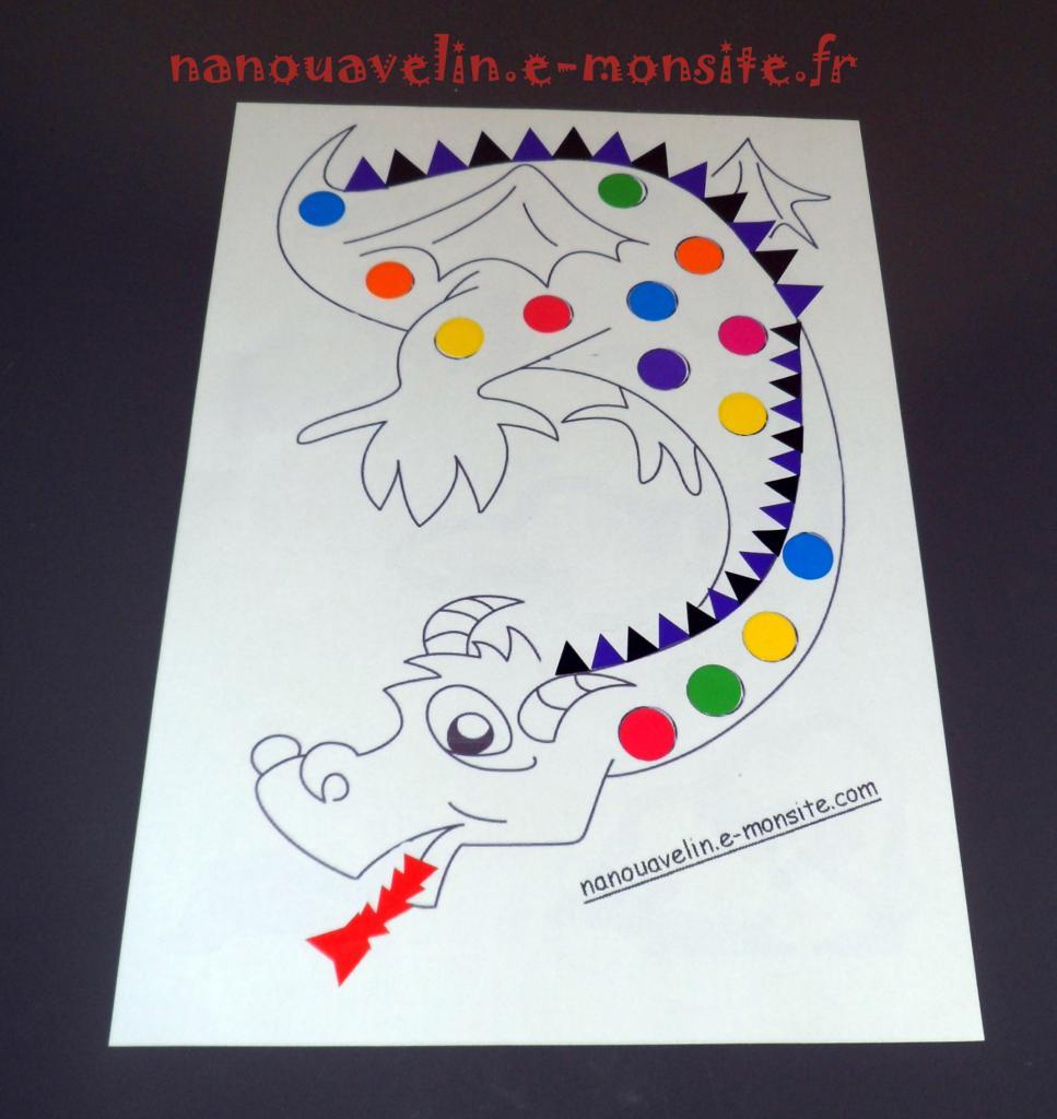 Coloriage Pour Gommettes Dragon Chinois
