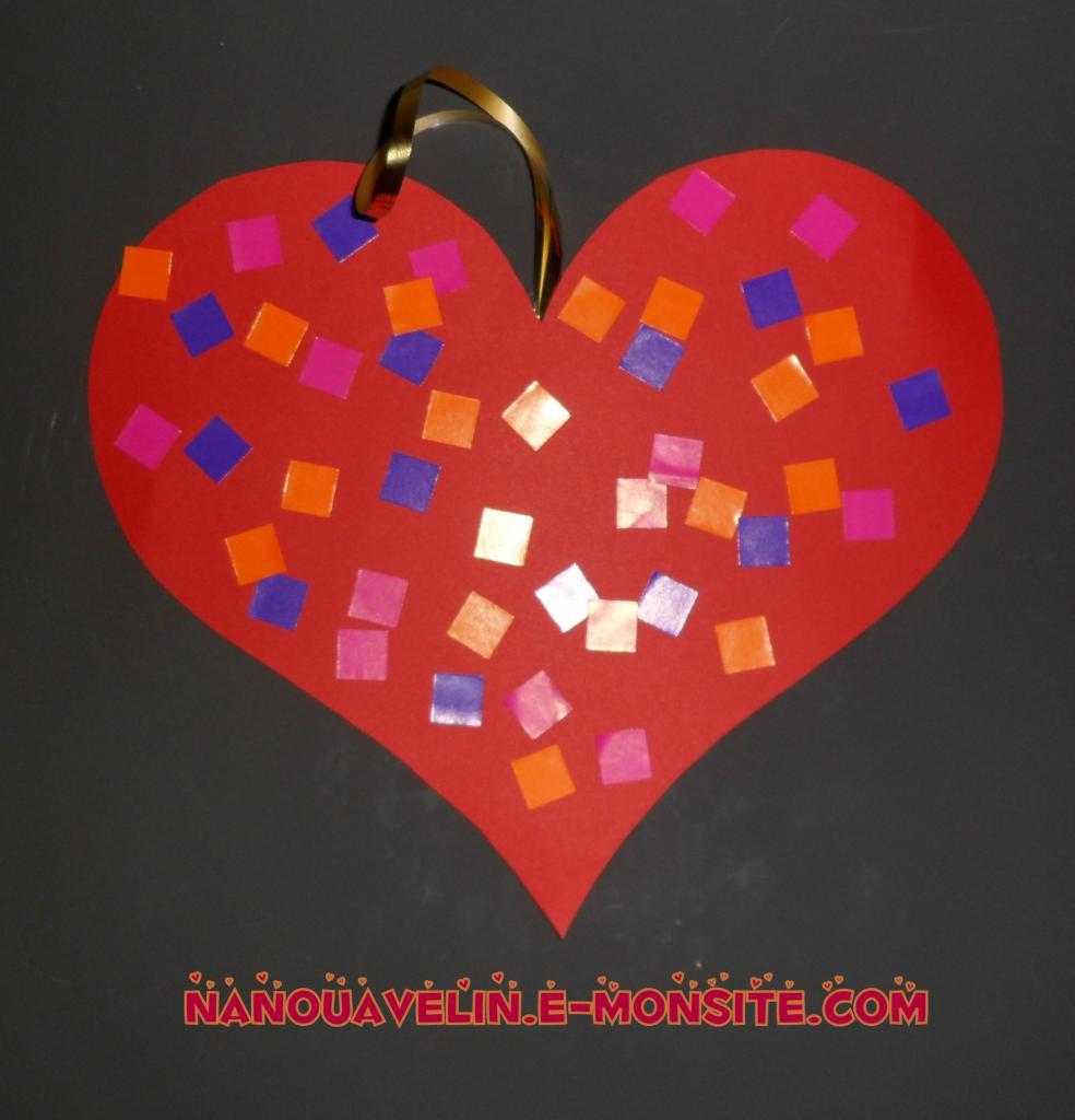 coeur de gommettes - bricolage st valentin